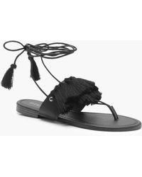 Boohoo - Anna Fringe Trim Wrap Sandals - Lyst