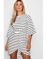 Boohoo - Plus Elle Stripe Kimono Sleeve Tie Waist Wrap Dress - Lyst