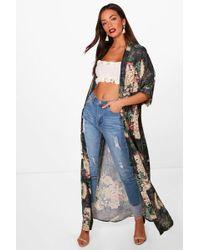 Boohoo - Oriental Floral Print Maxi Kimono - Lyst