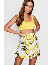 Boohoo - Petite Poppy Woven Lemon Print Ruffle Hem Skirt - Lyst