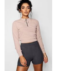 Boohoo - Fredia O Ring Zip High Neck Top - Lyst
