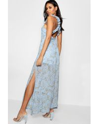 Boohoo - Boutique Ruffle Cross Back Ditsy Maxi Dress - Lyst