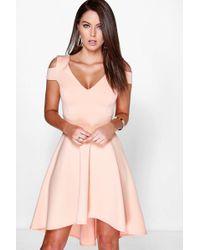 Boohoo - Clea Bardot Plunge High Low Skater Dress - Lyst