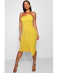 Boohoo - Zoey Bandeau Wrap Detail Midi Dress - Lyst