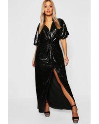 Boohoo - Gemma Collins Kimono Twist Sequin Maxi Dress - Lyst