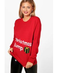Boohoo - Maternity Christmas Bump Jumper - Lyst