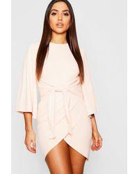 Women 100 Authentic Orlagh Pleated Choker Wrap Midi Dress 32721556 Party Dresses