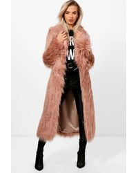 Boohoo - Collection Maria Manteau Maxi en fausse fourrure mongole - Lyst
