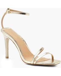 c4b277dd437 Lyst - Boohoo Wide Fit Metallic Clear Strap 2 Part Heels in Metallic