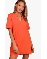 Boohoo - Formal Boxy Clean Cut Shift Dress - Lyst