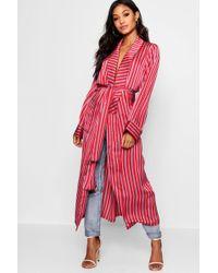 Boohoo - Satin Stripe Maxi Kimono - Lyst