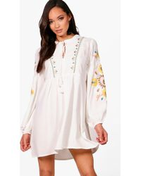 Boohoo - Heavily Embroidered Woven Smock Dress - Lyst