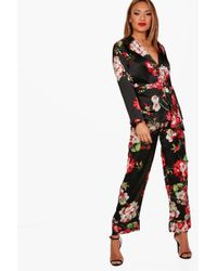 Boohoo - Henrietta Floral Print Trouser Suit - Lyst