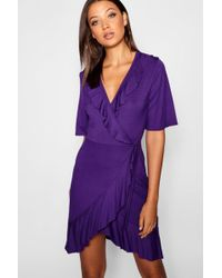 58e0039e27be Boohoo Tall Crushed Velvet Wrap Dress in Metallic - Lyst