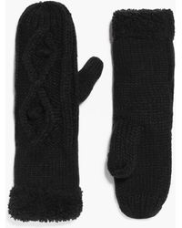 Boohoo - Grace Faux Fur Trim Cable Mittens - Lyst