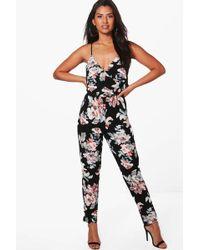 Boohoo - Shayla Floral Print Cami Wrap Jumpsuit - Lyst