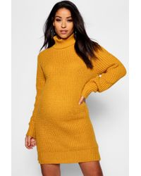 44abf7f78c7 Lyst - Boohoo Oversized Soft Knit Cowl Neck Jumper Dress in Yellow