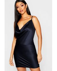 Boohoo - Cowl Neck Satin Dress - Lyst