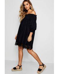 Boohoo - Shirred Crochet Hem Shift Dress - Lyst