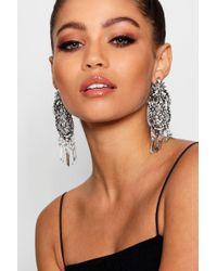 Boohoo - Statement Diamante Chandelier Earrings - Lyst