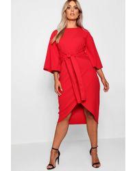 84f0b33807ae Lyst - Boohoo Plus Kimono Sleeve Wrap Over Midi Dress in Red