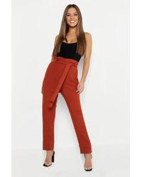 eb653e4b17468 Lyst - Boohoo Petite Paper Bag Waist Stripe Tapered Trouser in Red