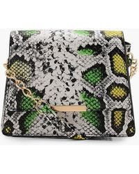 Boohoo - 80's Faux Snake Structured Cross Body - Lyst