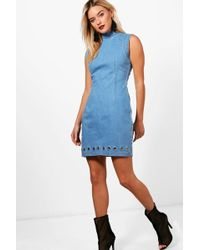 0adceddd3fd Boohoo Cold Shoulder Bodycon Denim Dress in Blue - Lyst