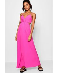 Boohoo - Knot Front Tie Back Maxi Dress - Lyst