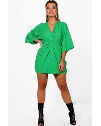 d5845634d050e Boohoo Plus Kimono Sleeve Woven Skater Dress in Yellow - Lyst