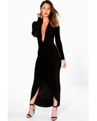 Boohoo - Plunge Rouched Detail Maxi Dress - Lyst