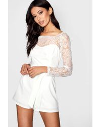 8080ed1bd6a Boohoo - Scalloped Lace Belted Playsuit - Lyst