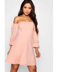 Boohoo - Square Neck 3/4 Puff Sleeve Skater Dress - Lyst