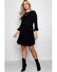 Boohoo - Plus Ruffle Hem Bodycon Dress - Lyst