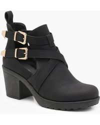 Boohoo - Pin Stud Cleated Chelsea Ankle Boots - Lyst