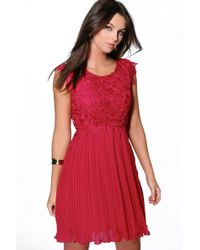 Boohoo - Boutique Corded Lace Pleated Skater Dress - Lyst