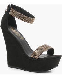 Boohoo - Diamante Two Strap Wedges - Lyst