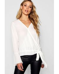 Boohoo - Wrap Front Tie Side Blouse - Lyst