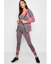 Boohoo - 3 Piece Sports Running Set - Jacket/vest/leggings - Lyst