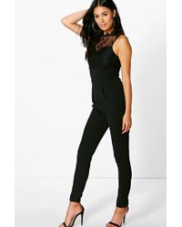 Boohoo - Rose Lace Trim Jumpsuit - Lyst
