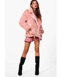 Boohoo - Lottie Boutique Oversized Faux Fur Aviator - Lyst