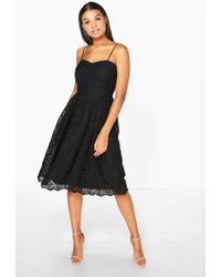 Boohoo | Boutique Abie Embroidered Strappy Midi Skater Dress | Lyst