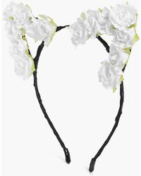 Boohoo - Annabel White Floral Cat Ear Headband - Lyst