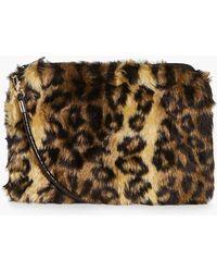 4d4362f11a Boohoo - Anna Leopard Faux Fur Cross Body Bag - Lyst