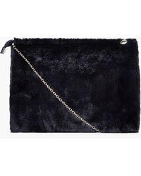 6795d42026 Boohoo - Poppy Zip Top Faux Fur Clutch Bag - Lyst