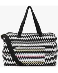 Boohoo - Ava Mono Zig Zag Embroidered Panel Day Bag - Lyst