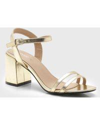c3be4c7eee7 Boohoo Metallic Strappy Low Block Heels in Pink - Lyst