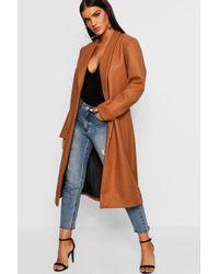 Boohoo - Collared Edge To Edge Wool Look Coat - Lyst