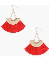 Boohoo - Leila Plate Fringed Tassel Earrings - Lyst