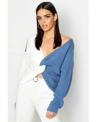 Boohoo - Knitted Colour Block Twist Front Jumper - Lyst